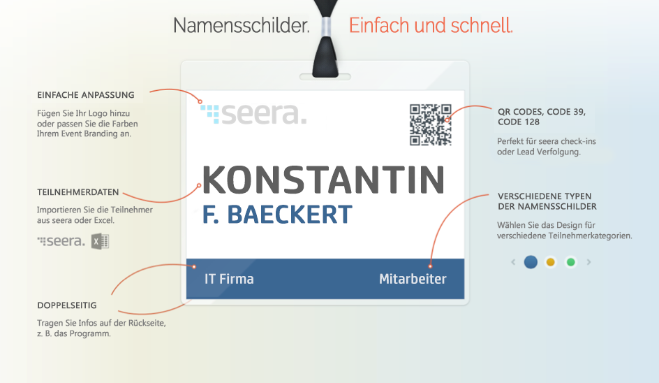 Name Badges und QR-Codes